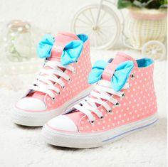 cute coral and blue sneakers #kawaii #cute