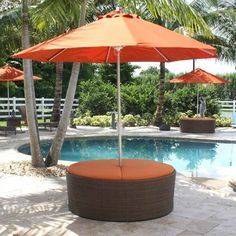 The Grenada contemporary patio set has a fully anodized aluminum frame and woven Viro fiber, which gives this collection a unique textured surface. This umbrella ottoman is perfect for any pool area to relax, it includes sunbrella cushions as shown. You can use this as a large ottoman with lounge chairs.