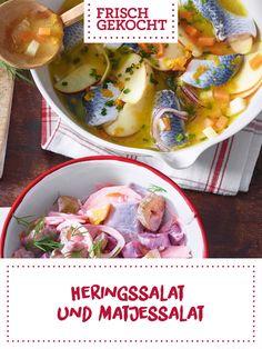 Heringssalat und Matjessalat Food Food, Potato Salad, Potatoes, Chicken, Meat, Vegetables, Ethnic Recipes, Cooking, Potato