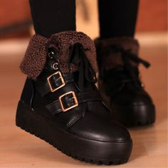 Thick Bottom Buckle Lace-up Ankle Boots