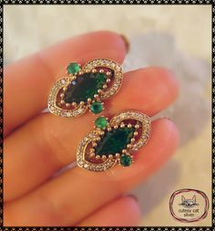 Turkish Authentic Sterling Silver Earrings 925K Emerald Zircon