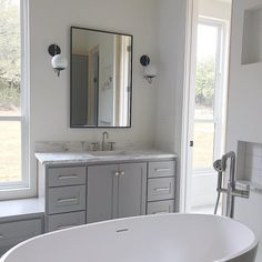 Mixing metals can be tricky, especially if you are mixing more than two. In my master bath I have brushed nickel, brass and black metal. Grey Bathroom Cabinets, Condo Bathroom, Grey Cabinets, Grey Bathrooms, Bathroom Colors, Bathroom Fixtures, Modern Bathroom, Bathroom Ideas, Master Bathroom