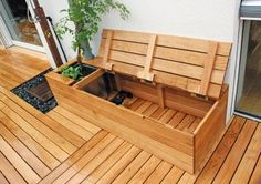 40 railing deck bench ideas for your backyard patio 14 Diy Storage Crate, Patio Storage, Bench With Storage, Outdoor Storage, Storage Benches, Small Backyard Landscaping, Backyard Patio, Flagstone Patio, Concrete Patio