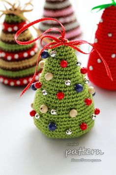 Crochet Patterns Christmas crochet pattern – little Christmas trees Crochet Christmas Decorations, Christmas Tree Pattern, Crochet Christmas Ornaments, Little Christmas Trees, Holiday Crochet, Colorful Christmas Tree, Diy Christmas Tree, Crochet Diy, Crochet Gifts