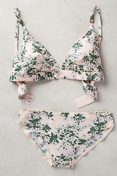 Anthropologie's August Arrivals: Intimates & Lingerie Blushed Blossom Bikini by Stella McCartney- Wow. A bikini? On my list? How out of the ordinary! (I really like the strap style on this one, how the straps fit more like a bra than a halter) Bikini Sets, The Bikini, Bikini 2017, Floral Bikini, Sexy Bikini, Bikini Beach, Lingerie Babydoll, Lingerie Set, Lingerie Sleepwear