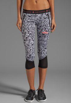 Size Small. ADIDAS BY STELLA MCCARTNEY Run 3/4 Tig Pri Pant in White/Black - adidas by Stella McCartney