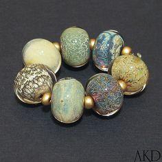 Lampwork Glass Beads Set Handmade OOAK SRA Mixed by AKDlampwork, $49.00