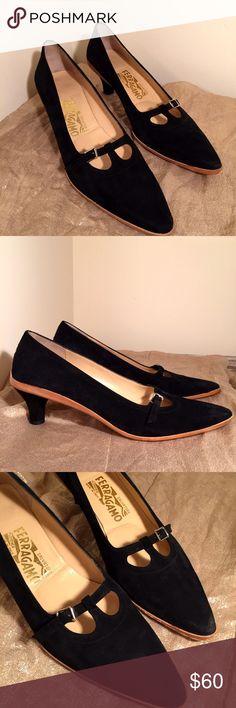 """Black Suede Ferragamo heels size 7.5 Black Suede Ferragamo 2"""" heels, size 7.5 could fit a narrow size 8. Italian Ferragamo Shoes Heels"""