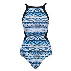 Cut-Out Swimsuit - Browse ❤ liked on Polyvore featuring swimwear, one-piece swimsuits, high neck one piece swimsuit, summer bathing suits, swim suits, high neck swimsuit and high neck bathing suit