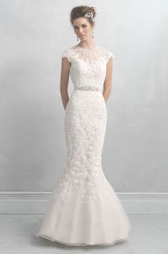Allure Bridals illusion-neckline wedding dress