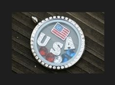 """The perfect locket for any patriotic day!    To order:  www.angeladewine.origamiowl.com   """"Like"""" me on Facebook for sales, information and events! www.facebook.com/angelasorigami"""