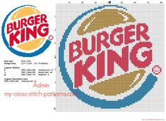 Burger King fast food logo free cross stitch pattern