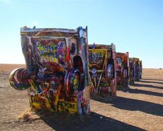 Located on I-40, outside of Amarillo, Texas, Cadillac Ranch is a wholly interactive exhibit. Visitors are encouraged to bring paint, markers...