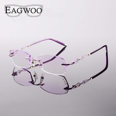 Metal Alloy Acetate Eyeglasses Women Rimless Prescription Reading Myopia  Photochromic Glasses Spectacle with Color lenses 073 2f07652656e2