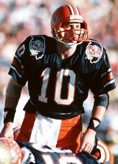 Jack Trudeau was the starting quarterback of the 1983 Fighting Illini Rose Bowl team that became the first and only Big Ten team to beat all 9 conference teams in one season. Illinois Fighting Illini, Vintage School, Rose Bowl, Alma Mater, College Football, Football Helmets, Nfl, Conference, Central Illinois