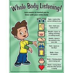 Whole Body Listening Poster by Social Thinking Recently, I took part in a county-wide speech therapy round-table discussion about casel. Behaviour Management, Classroom Management, Preschool Behavior Management, Learning Tips, Teaching Tools, Teaching Kids, Teaching Emotions, Social Emotional Learning, Learning Spanish