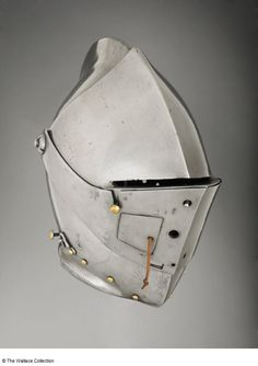 Close-helmet Unknown Artist / Maker Augsburg, Germany c. 1590 Iron or steel and copper alloy Height: cm Weight: kg European Armoury II Augsburg Germany, Medieval Helmets, Knights Helmet, Fantasy Setting, Head And Neck, Armors, Story Ideas, Blacksmithing, Leather Backpack