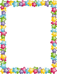 A page border with stars in different colors. Free downloads at http://pageborders.org/download/star-border/