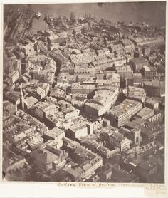 """Today's #tbt takes us back to 1860, when James Wallace Black took the photo """"Boston as the Eagle and the Wild Goose See It."""" It was the first photo ever taken in the air in America!  While floating in a balloon over Boston, attached by a 1,200 foot cable, he took eight photos and this one survived! The science and ingenuity of physics and photography came together to produce this piece of American history."""