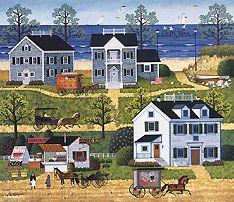 Gulls Nest - Charles Wysocki puzzle-  In the summer our daughers and I would put on classical music, open the dining room windows and build a Charles Wysocki puzzle on the table.
