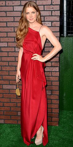 AMY ADAMS Flaunting a super-svelte shape, the actress stuns in a red silk draped Roksanda Ilincic gown with Fred Leighton gems, nude Casadei...