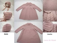 Paz Rodriguez Baby Girls Pink Pram Coat and Bonnet Baby Cardigan, Baby Pullover, Knitting For Kids, Baby Knitting Patterns, Baby Patterns, Tricot Baby, Kids Tops, Knitted Baby Clothes, Baby Coat