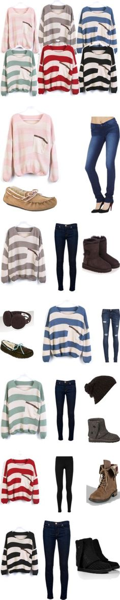 """striped loose sweaters from sheinside.com"" by bardentaylor ❤ liked on Polyvore"
