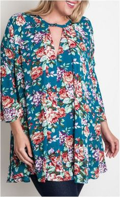 Umgee Jade Floral Dress Trapeze Swing Cut Boho Chic Bell Sleeve Tunic- – Debra's Passion Boutique