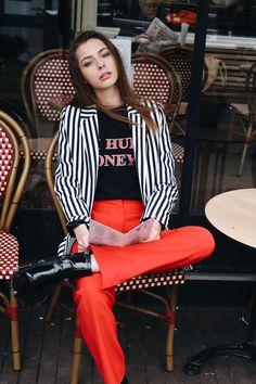 #red #pants #amsterdam #blazer #tshirt #model #dutch
