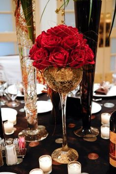 Gold Red Centerpieces Fall Wedding Reception Photos & Pictures - WeddingWire.com