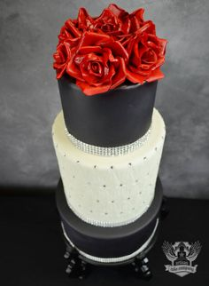 Black and white bling wedding cake with red sugar roses | Artisan Cake Company