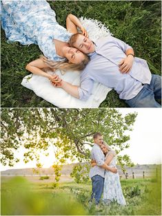 Spring Engagement Session - Summer Engagement Session - Fiance - Engaged - Trees - Sunset - Green Grass - Laying in Grass - Blanket - Holding Hands - Hugging - Blue Shirt - White Blue Floral Dress - Jeans - Montana Wedding Photographer - Sara Nagel Photography Engagement Photography, Engagement Session, Engagement Photos, Picnic Blanket, Outdoor Blanket, Montana Wedding, How To Pose, Green Grass, Wedding Portraits