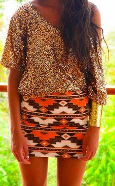 glitter + gold errythaaang (also love the tribal mini skirt)