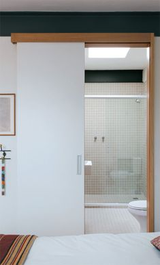 Sliding Door Design, Sliding Glass Door, Tall Cabinet Storage, Locker Storage, Minimal Bathroom, Narrow House, Minimalist House Design, Minimal Home, Box Houses