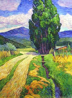 Truchas Road, 1981 by Robert A. Daughters on Curiator, the world's biggest collaborative art collection. Van Gogh Paintings, Paintings I Love, Kunst Inspo, Art Inspo, Art And Illustration, Landscape Art, Landscape Paintings, Abstract Paintings, Southwestern Art