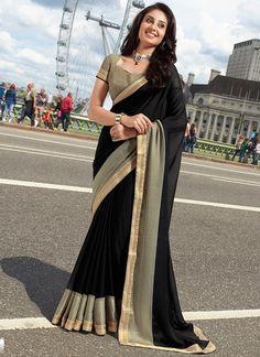 Glorious Black Georgette Saree