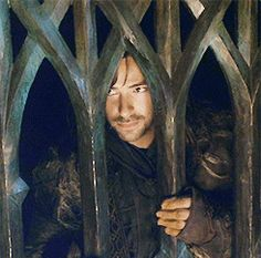 (GIF) A slow smile dawns over Kili's face after he is told off by a sassy She-Elf with high cheekbones and creamy skin (oh, watch for the softening eyes)  Aidan Turner