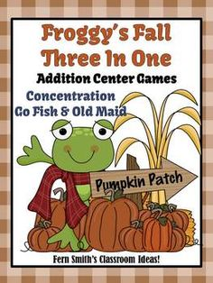 Addition Fall Froggy Back to School Concentration, Go Fish & Old Maid for Common Core Standards ~ Three Games in One! #TPT $Paid
