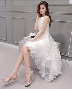 White Organza High Low Party Evening Dress