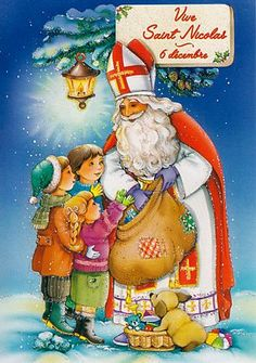 Carte illustrée : Vive Saint Nicolas 6 décembre Prim Christmas, Father Christmas, Vintage Christmas Cards, Retro Christmas, Christmas Greetings, Nicolas Party, Baptism Party Decorations, St Nicholas Day, Santa Pictures