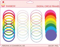 Digital Clipart Stamps Papers Printables Logos Branding by PaperiePixel Cute Clipart, Frame Clipart, Rainbow Birthday Party, Birthday Parties, Circle Rainbow, Personalized Tags, Printable Paper, Treat Bags, Free Printables