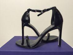 Stuart Weitzman Nudist Song Black Patent Leather Women's Heels Sandals Size 6.5 #StuartWeitzman #FashionHeelsSandals
