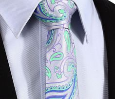 "TP918G7 Green Purple skinny floral 2.75"" 100%Silk Woven Slim Skinny Narrow Men Tie Necktie Handkerchief Pocket Square Suit Set"