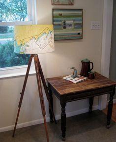 Vintage farmhouse table and tripod lamp