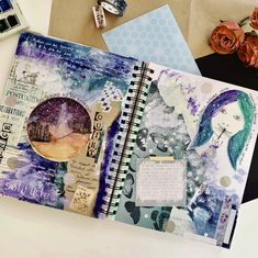 a collage, watercolor and mix media art journal page inspired by silence and solitude