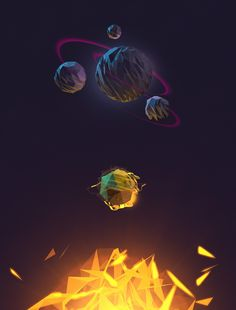 A series of illustrations fantastic planets for space games.