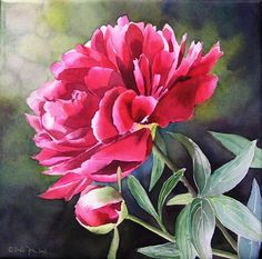 Pink red peony painting, flower painting in watercolor by Doris Joa Oil Painting Flowers, Watercolour Painting, Watercolor Flowers, Flower Paintings, Easy Watercolor, Painting Canvas, Watercolors, Art Floral, Floral Wall
