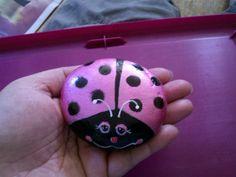 Handpainted Pet Rock Metallic Pink Ladybug Pocket pet stone river rock painting Home Garden Decor paperweight