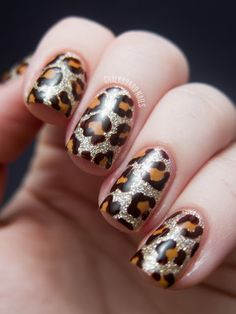 Chalkboard Nails: Blinged Out Leopard - China Glaze On Safari Nail Art