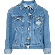 Topshop Moto 'Tilda' Denim Jacket found on Polyvore featuring outerwear, jackets, tops, topshop jacket, blue jean jacket, distressed jean jacket, button jacket and topshop